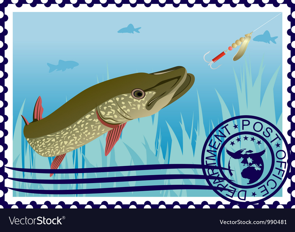 Postage stamp the hunt for pike vector