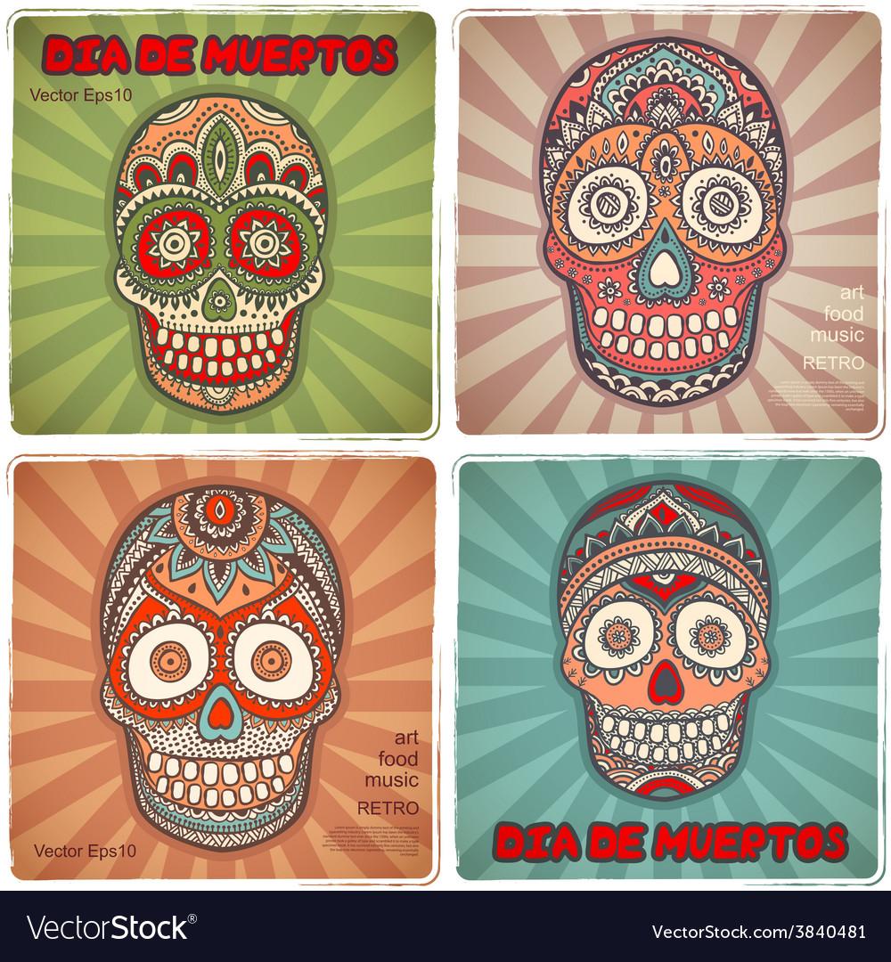 Vintage ethnic hand drawn human skull banners vector