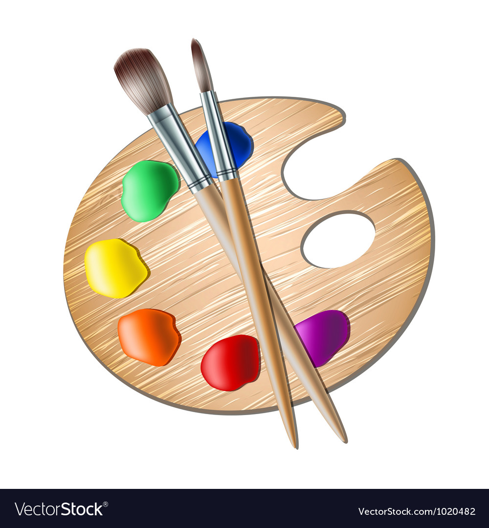 Art palette with paint brush for drawing vector