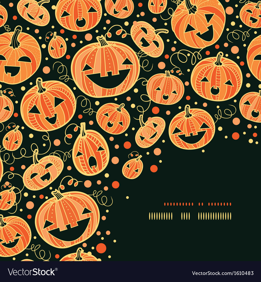 Halloween pumpkins corner decor pattern background vector