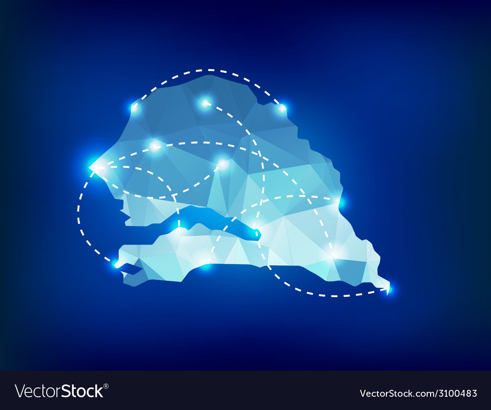 Senegal country map polygonal with spot lights pla vector