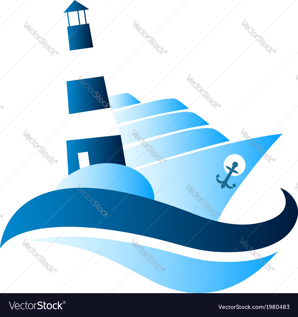 Ship and lighthouse vector