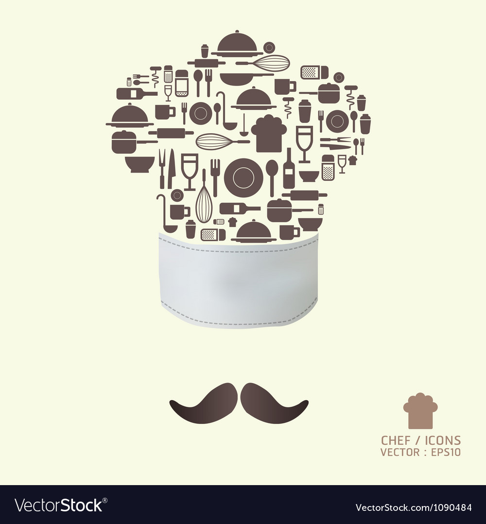 Kitchen tool icons on chef hat concept vector