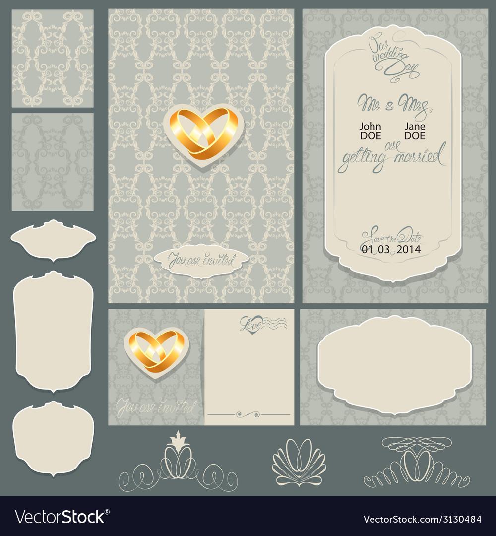Wedding invitation 2 380 vector