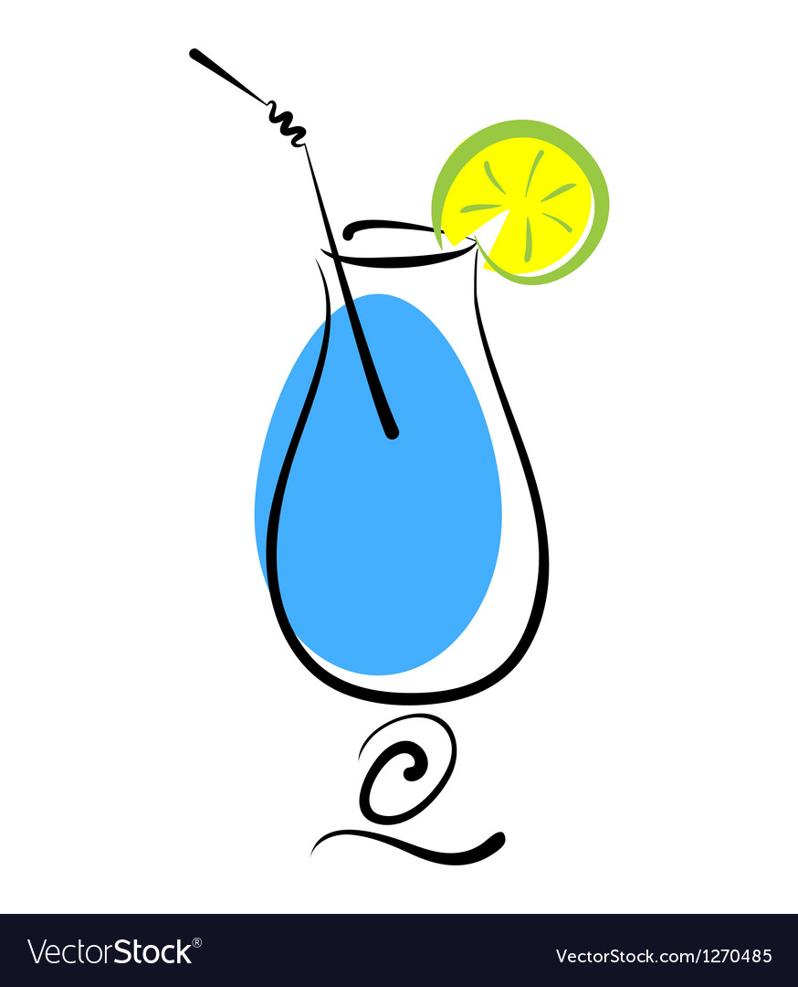 Alcohol blue cocktail in glass vector