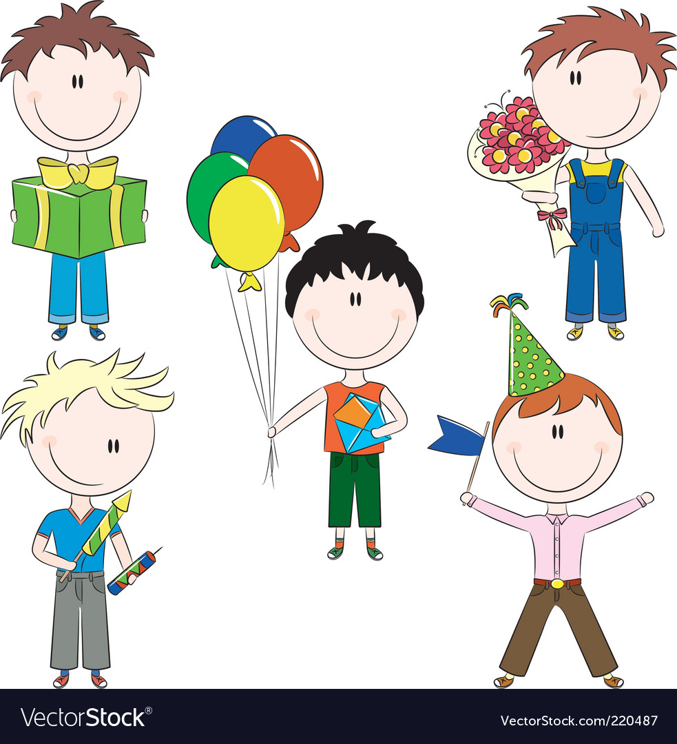 Cheerfull kids make happy birt vector
