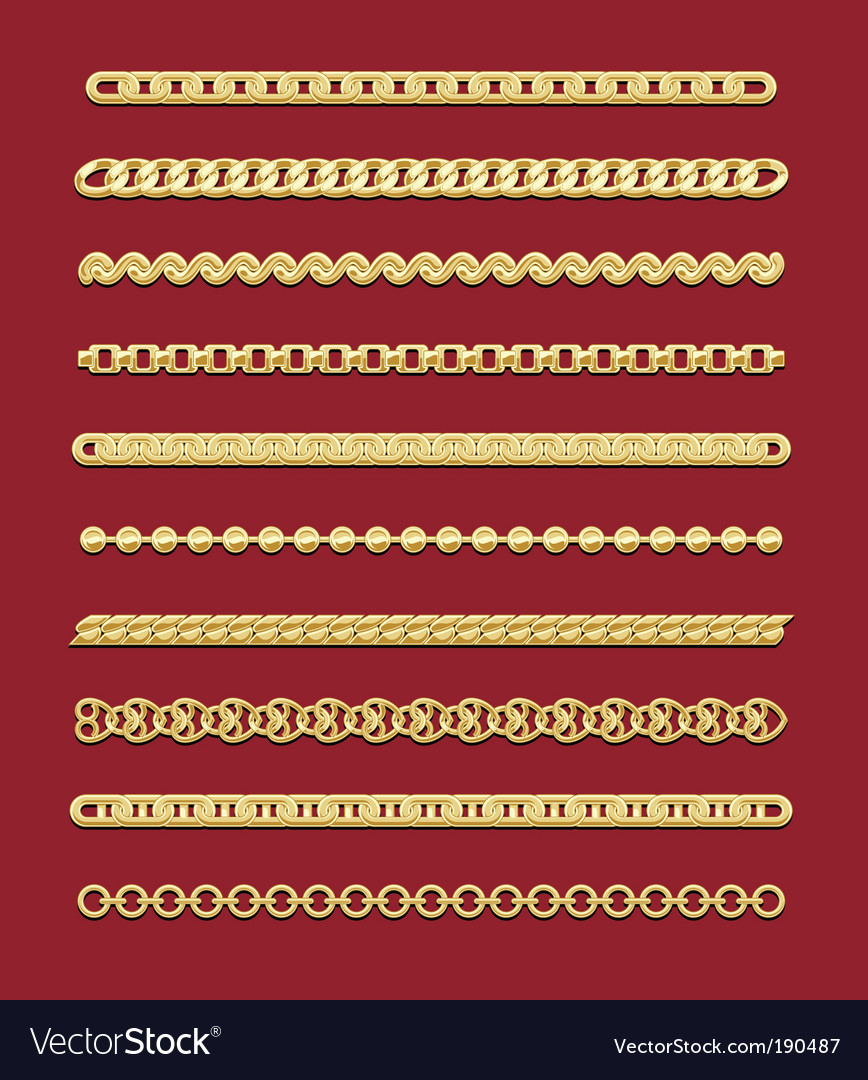 Gold chain designs vector