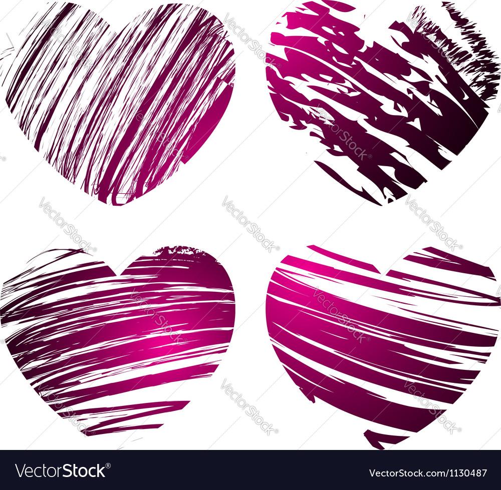 Grunge hearts 1 vector