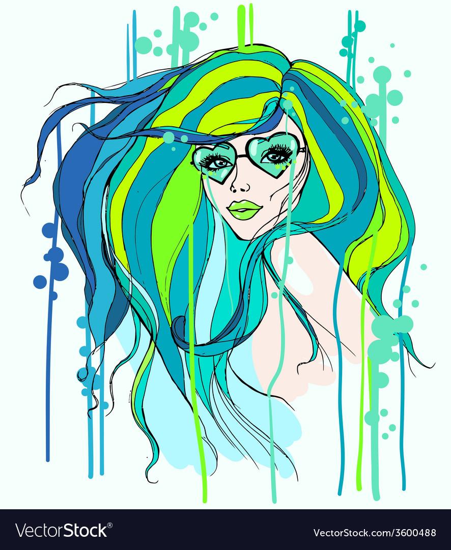 Girl in glasses vector