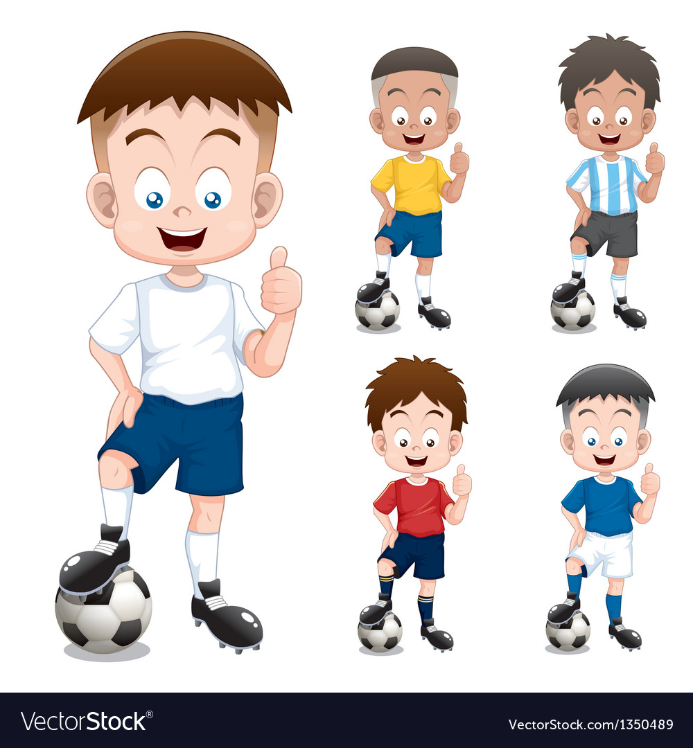 Boy soccer player vector