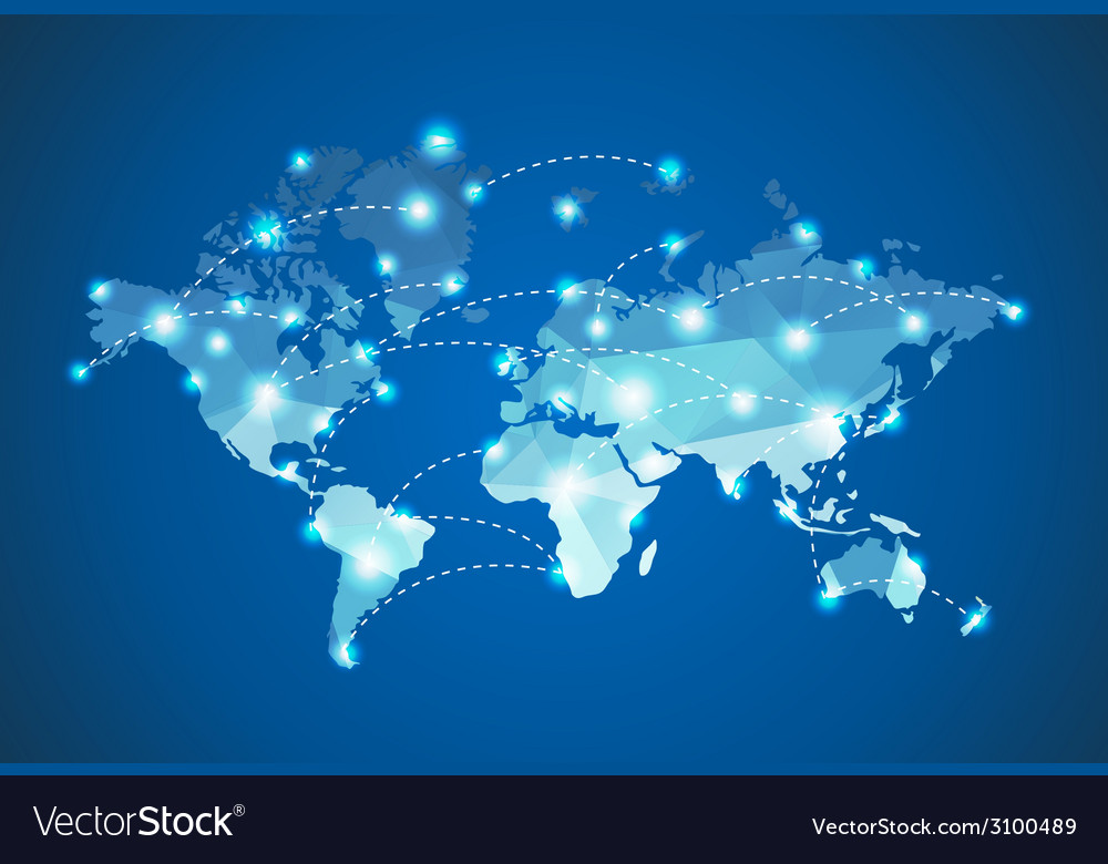 Polygonal world map with spot lights effect vector