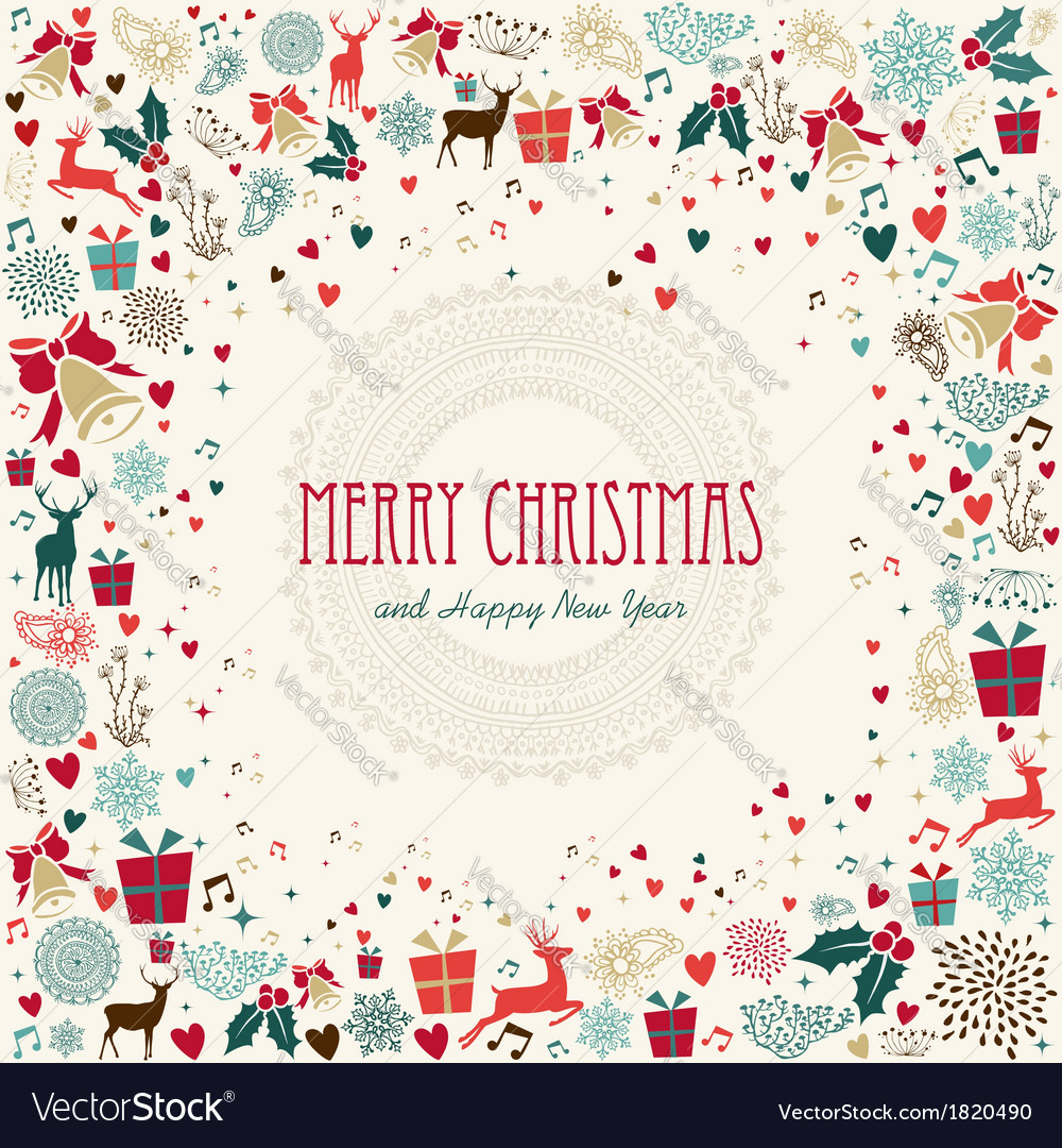 Merry christmas holiday colorful icons vector