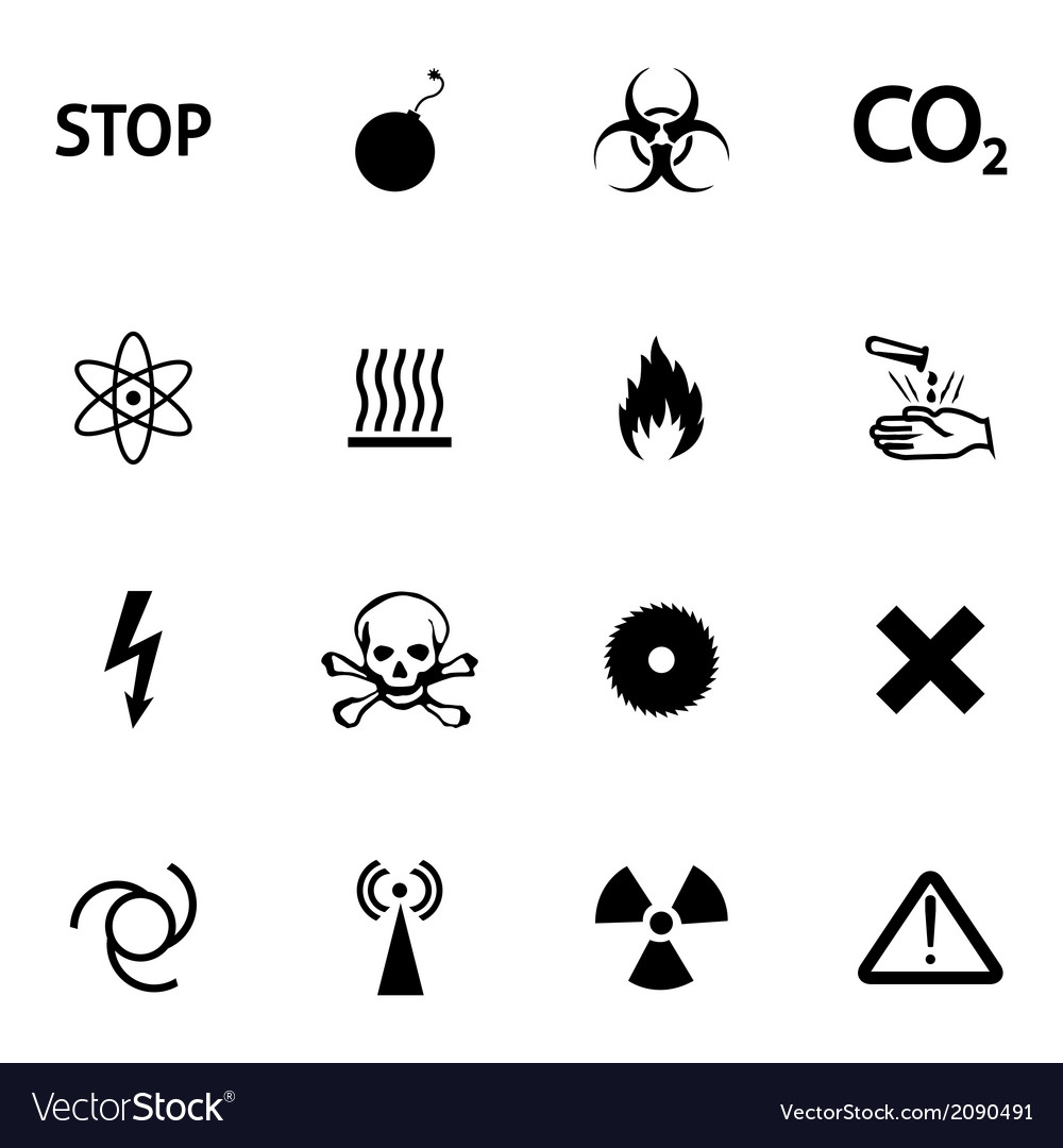 Black danger icons set vector