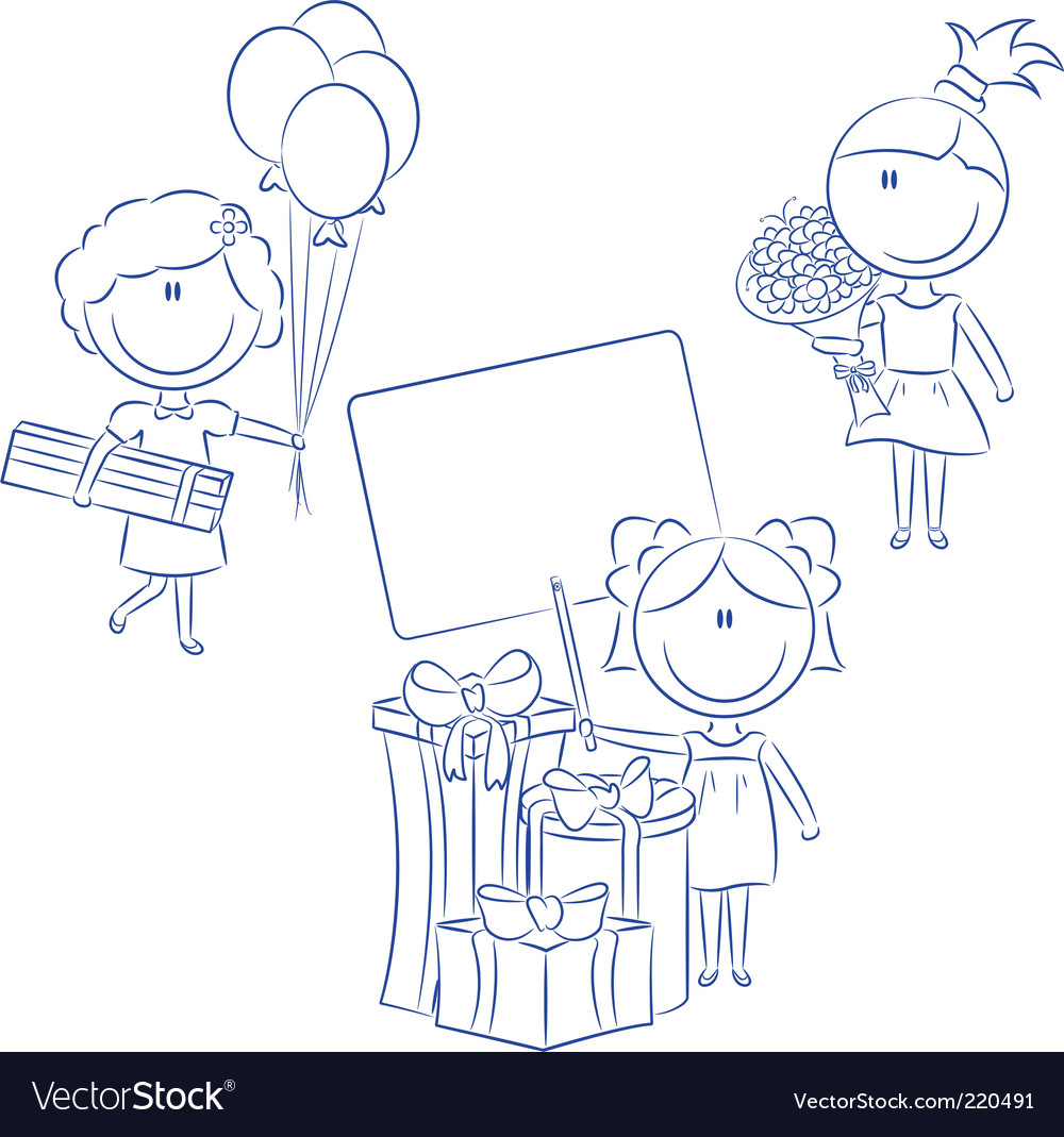 Cheerfull girls make happy bir vector