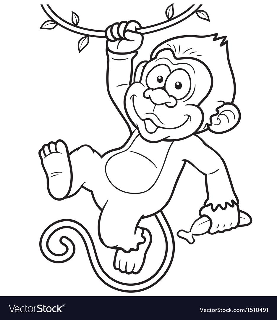 Monkey outline vector