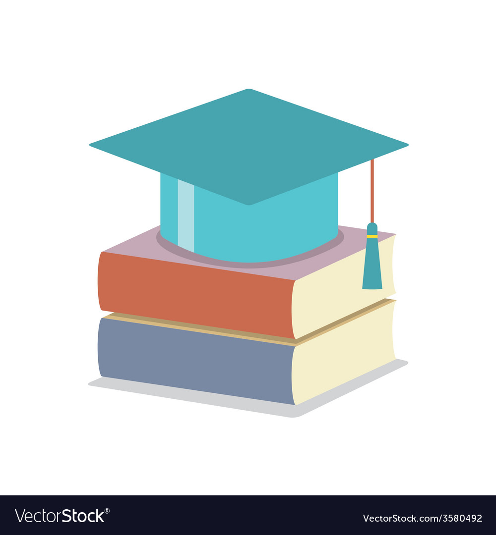 Mortarboard with books education concept vector