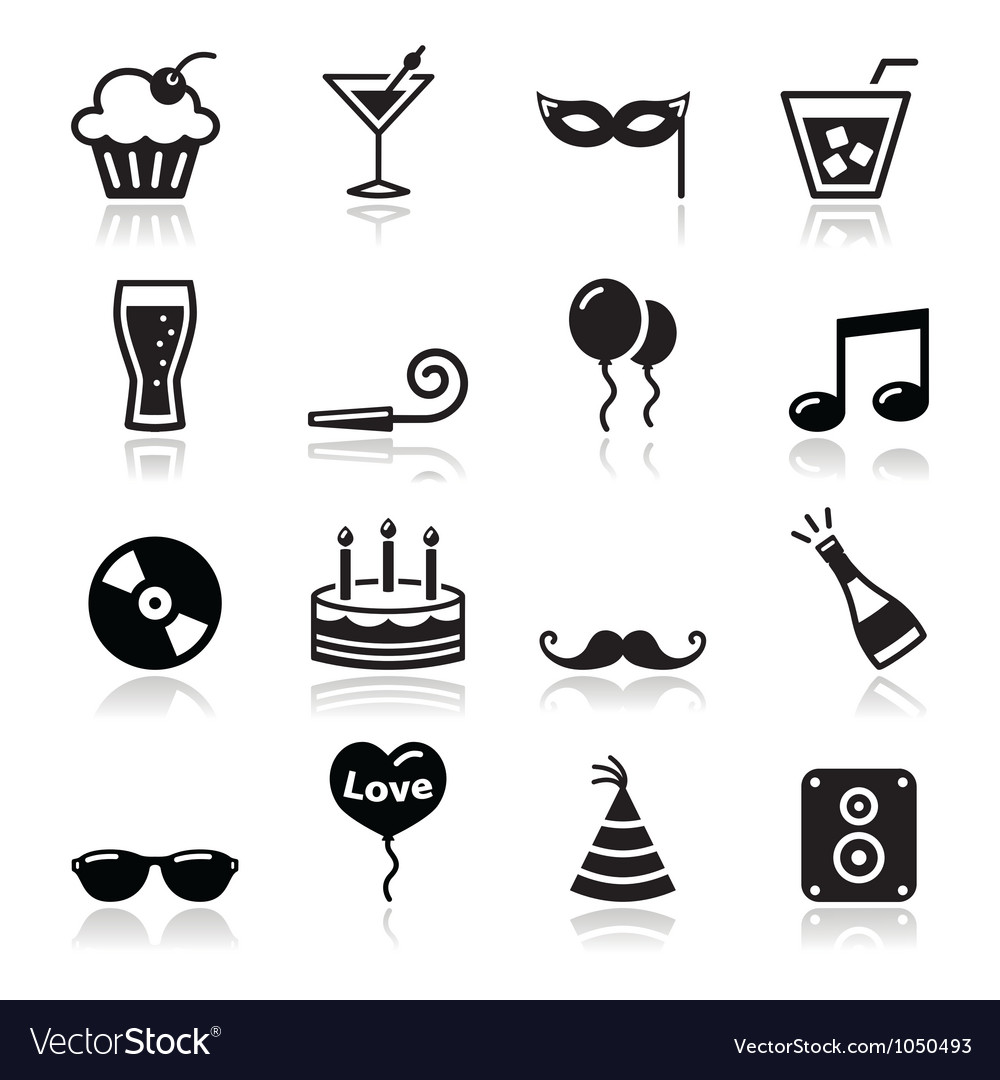 Party icons set new year xmas vector