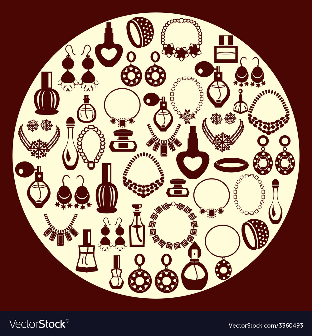 Set of jewelry and perfume icons silhouette vector