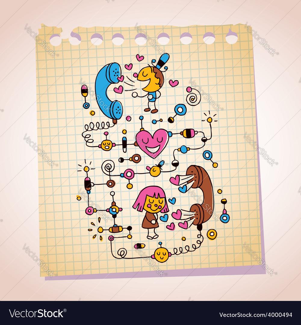 Love telephone conversation note paper cartoon vector