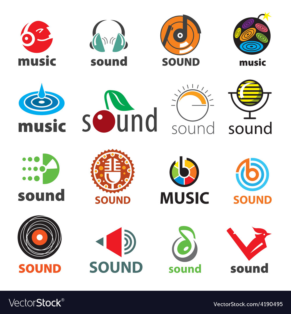 Big set of logos sound and music vector