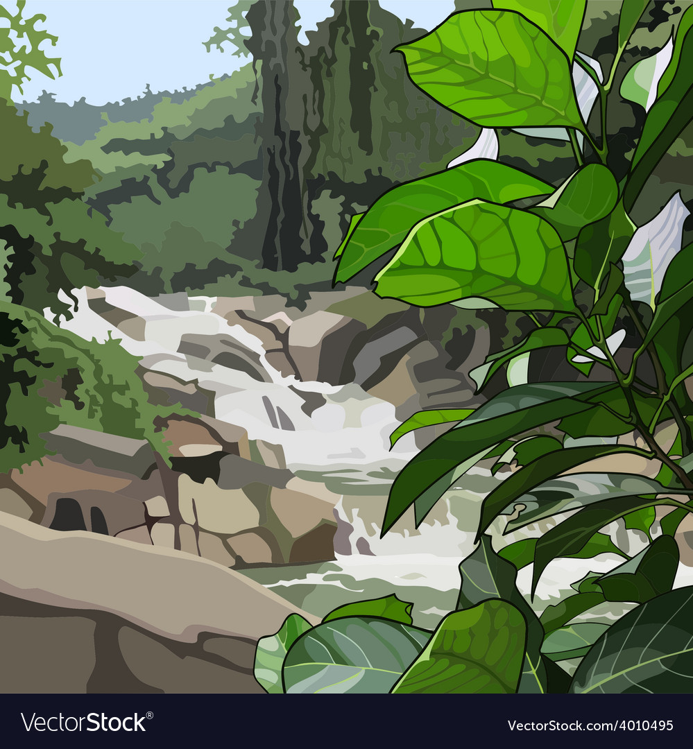 Landscape mountain river in thickets vector