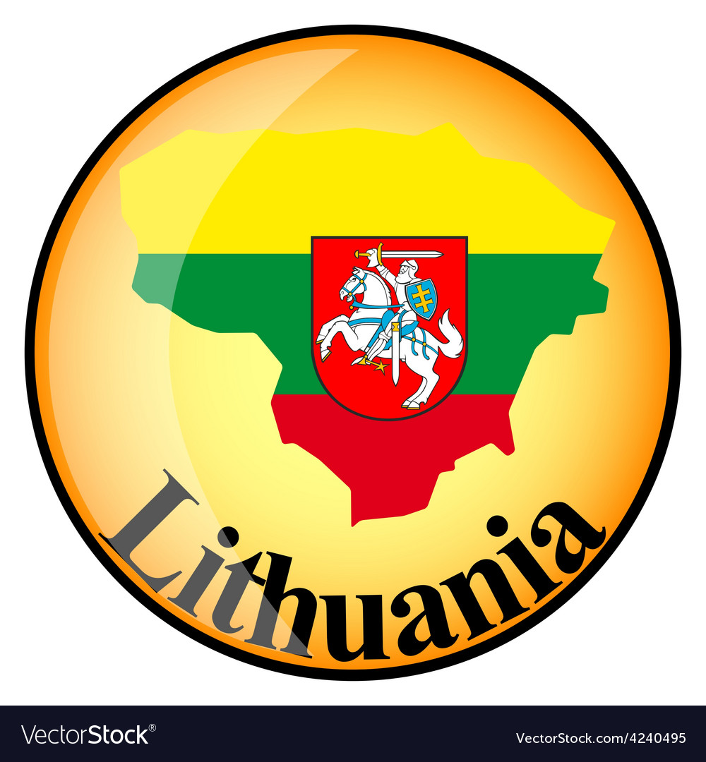 Orange button with the image maps of lithuania vector