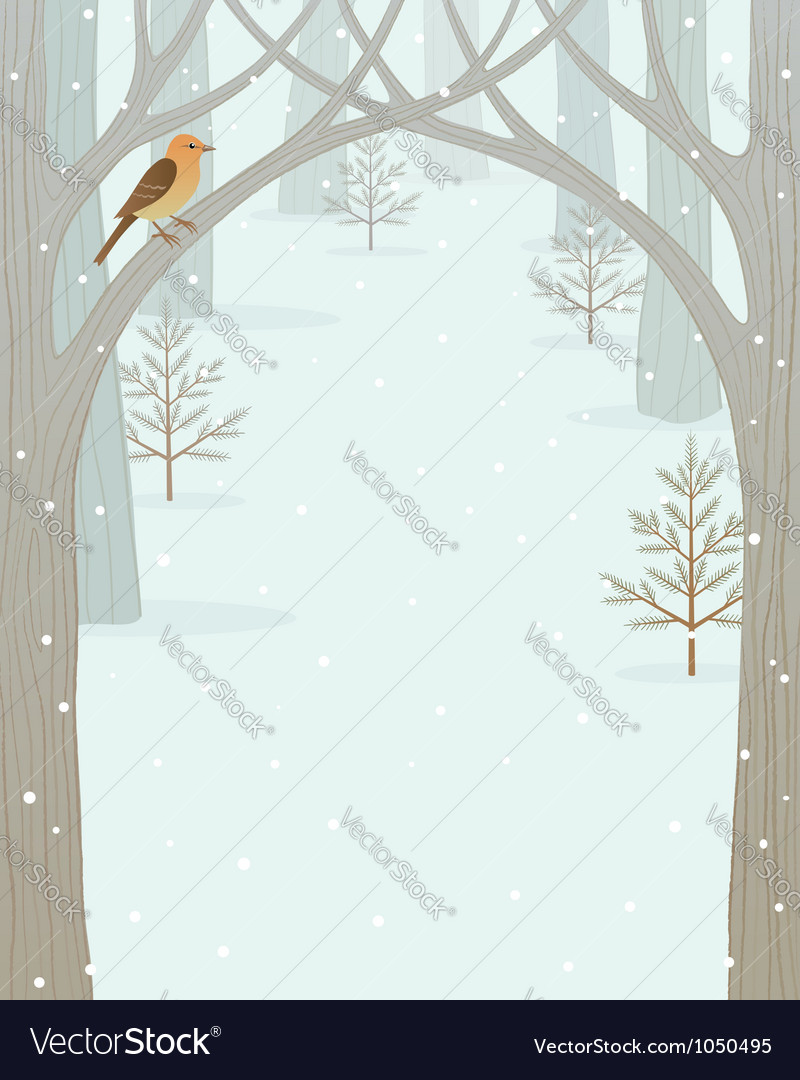 Winter forest background vector