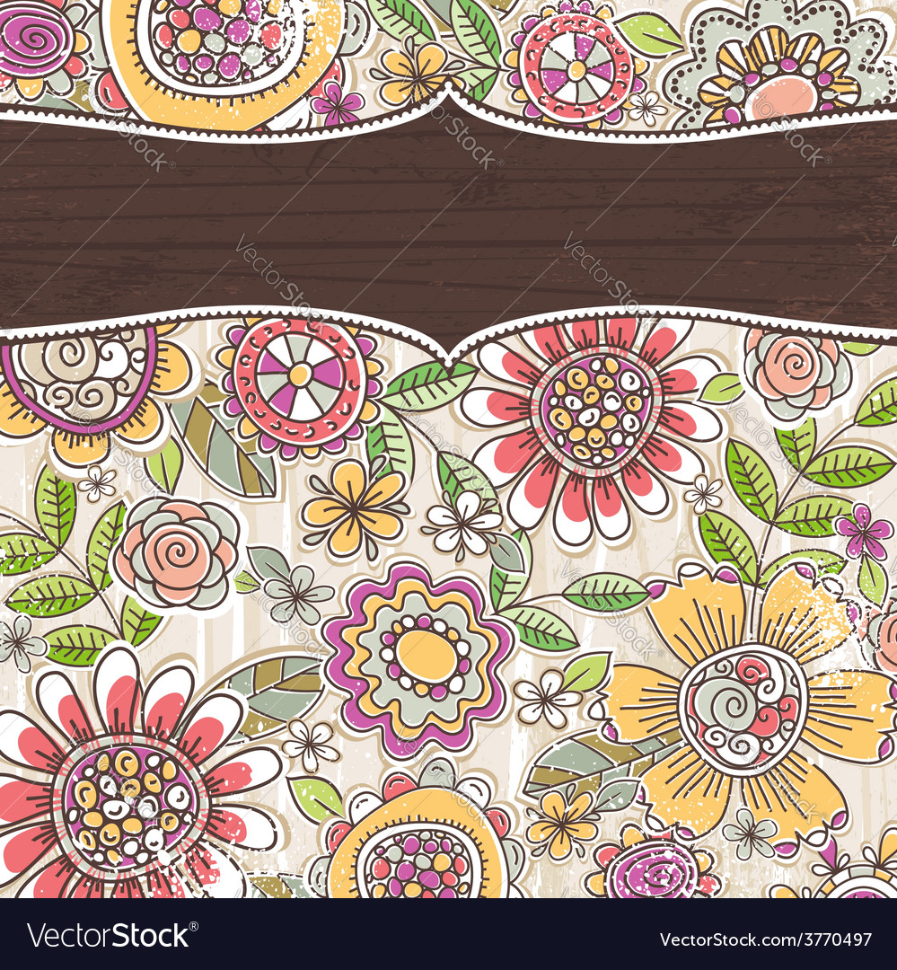 Label on background with spring flowers vector