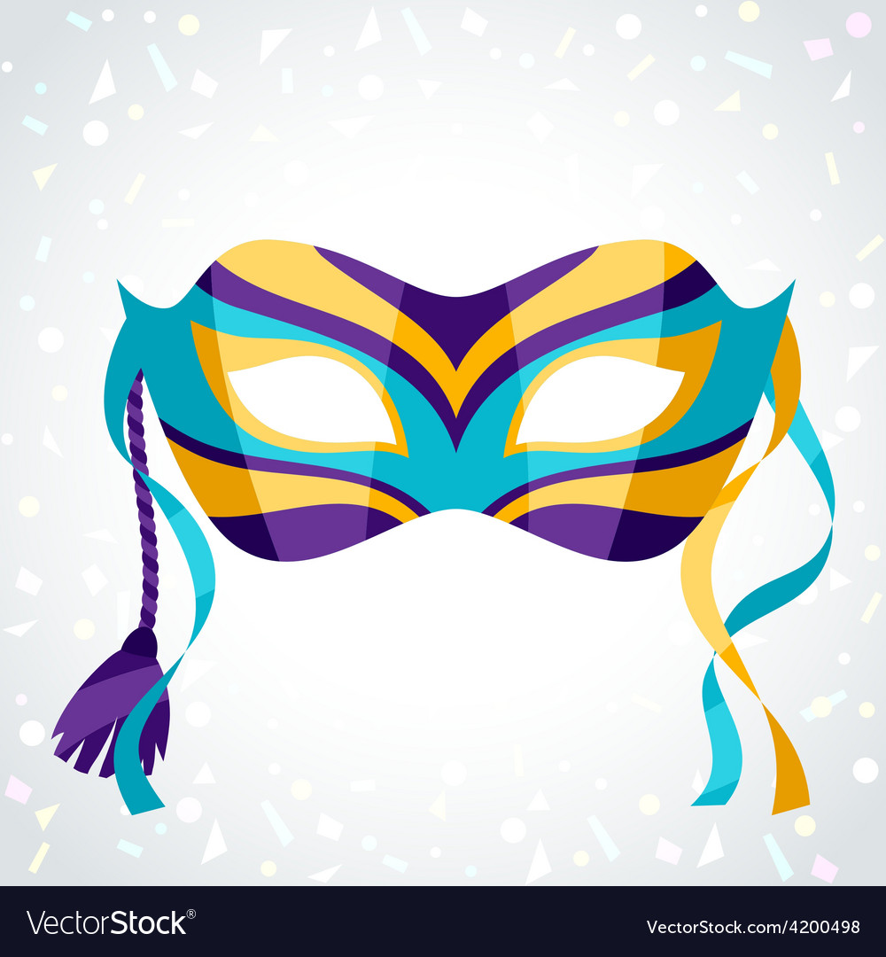 Festive carnival mask on background of confetti vector