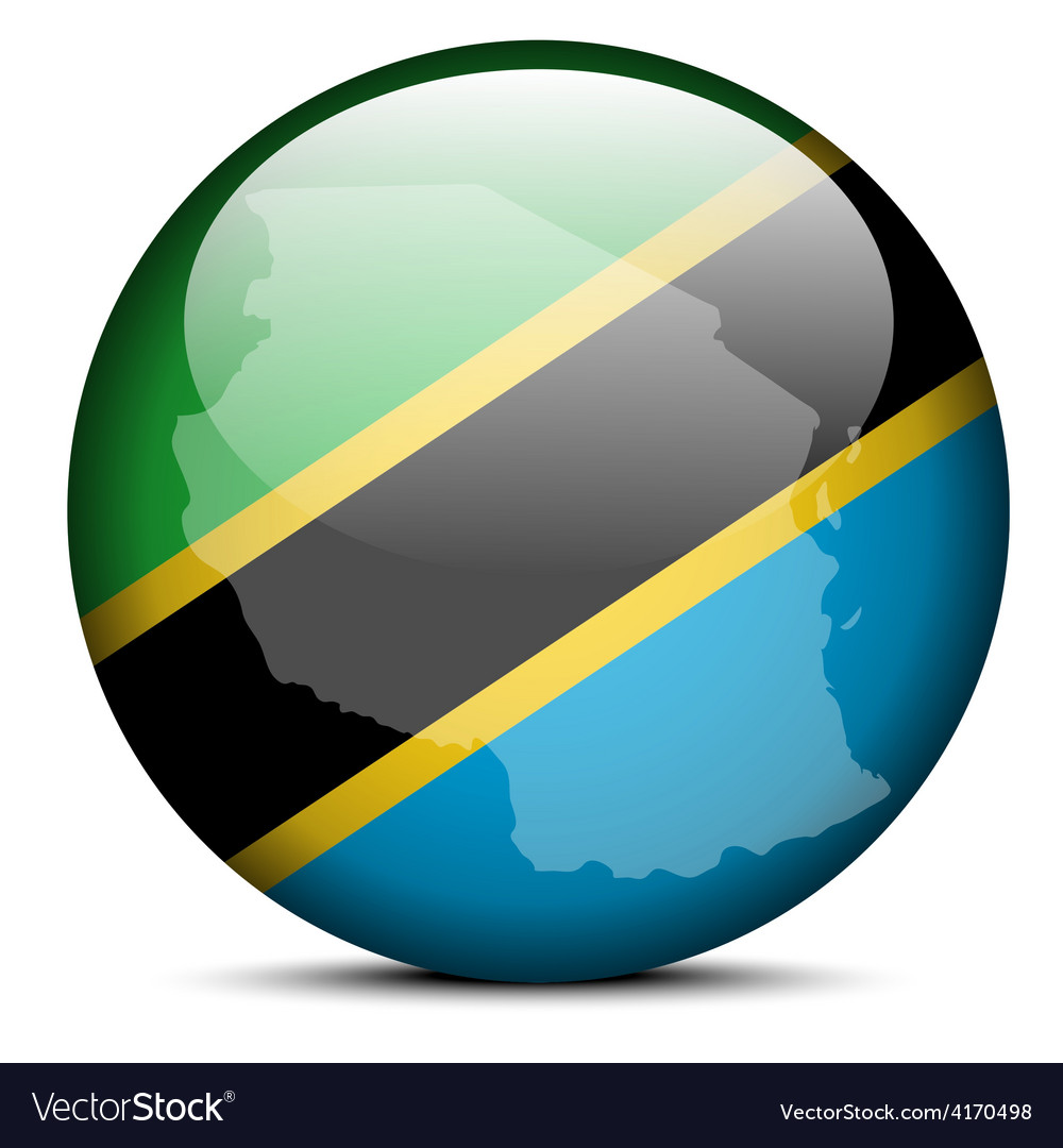 Map on flag button of united republic tanzania vector