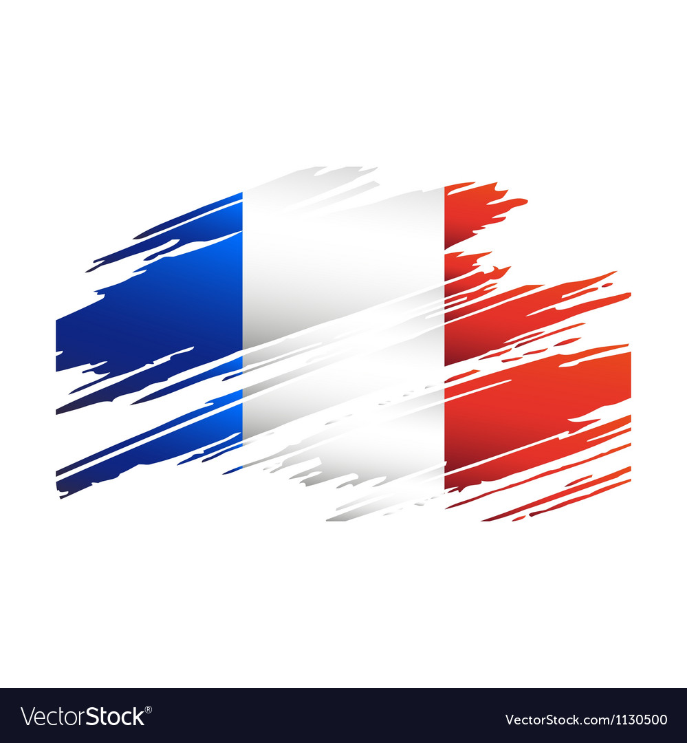 Flag france in the form traces brush vector