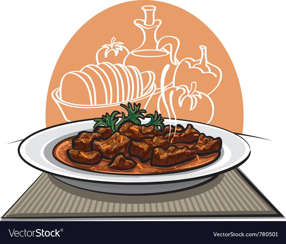 Meat dish goulash vector