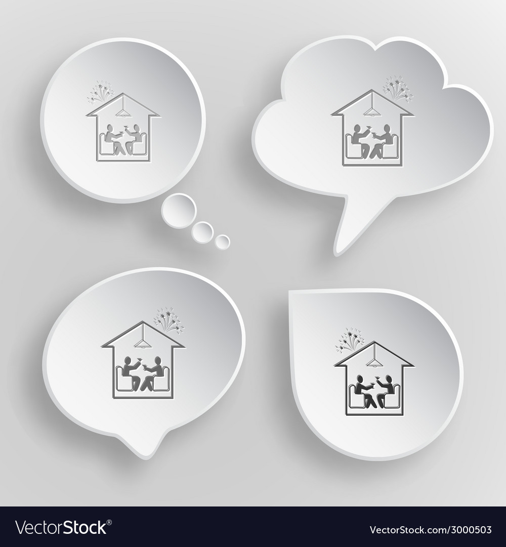 Home celebration white flat buttons on gray vector