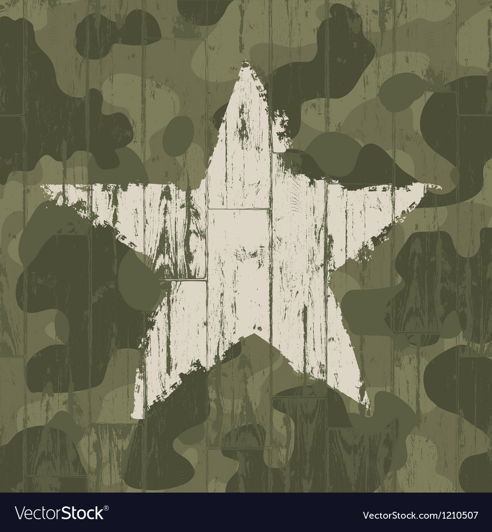 Military camouflage background with star vector