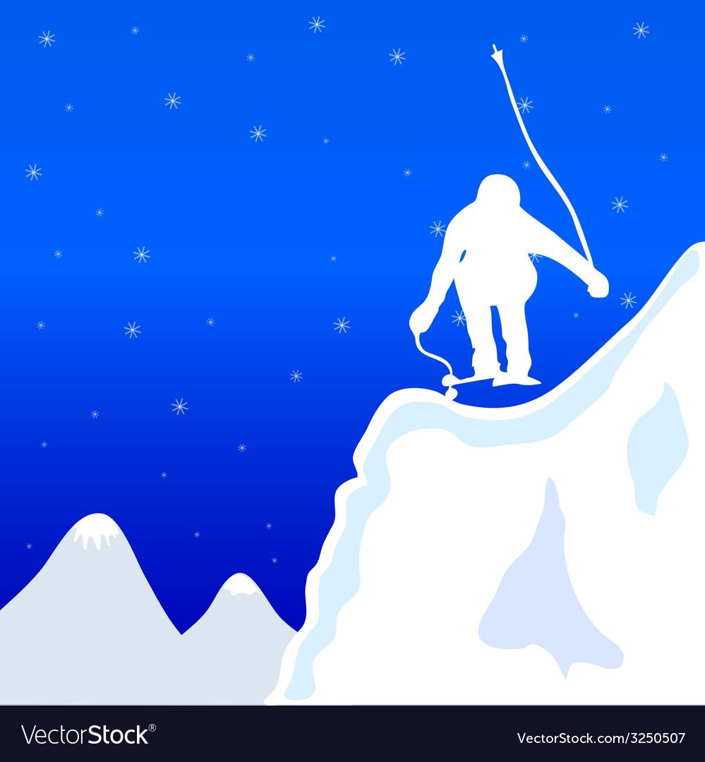 Skiing and jupm man in winter vector