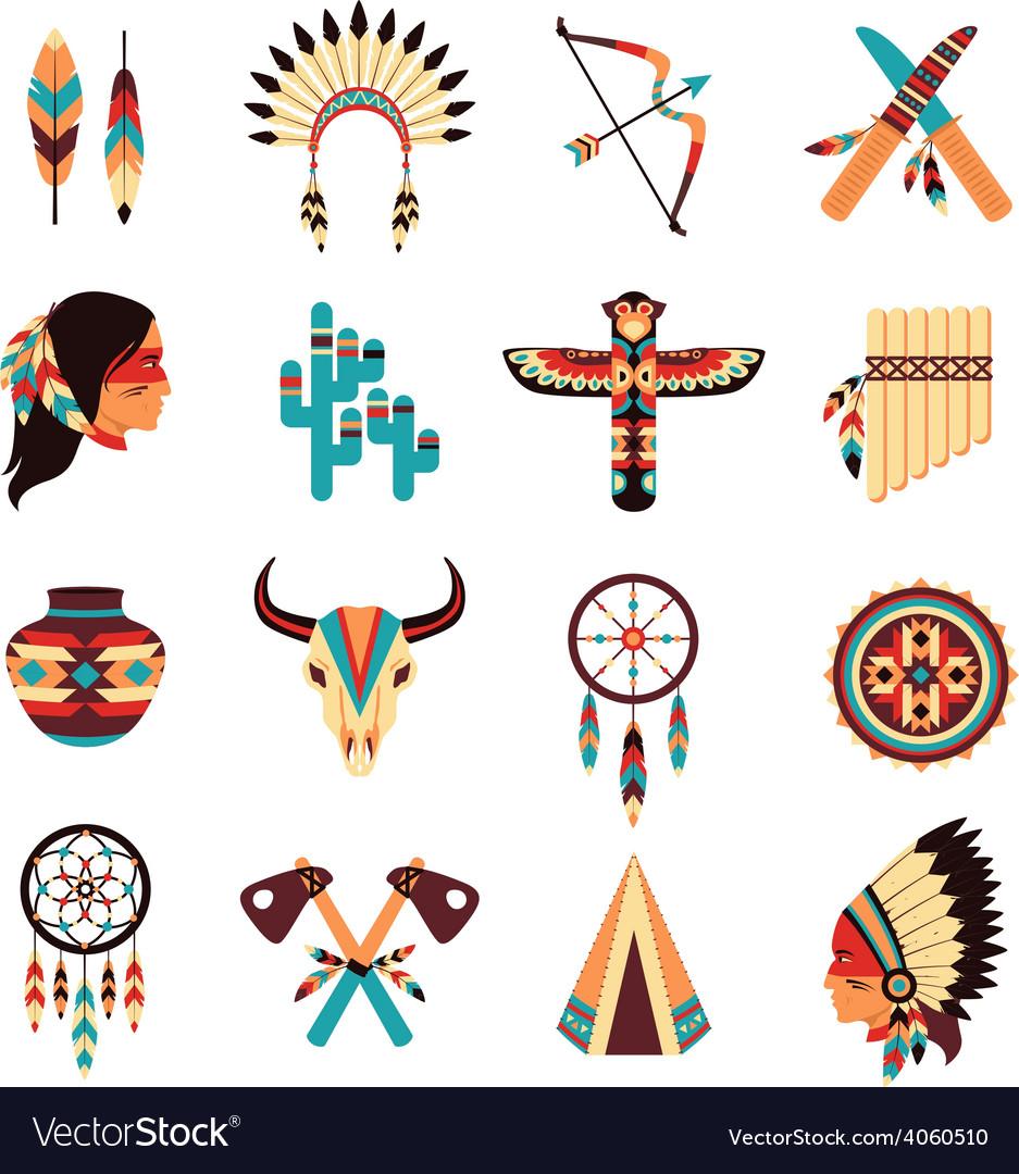 Ethnic american indigenous icons set vector