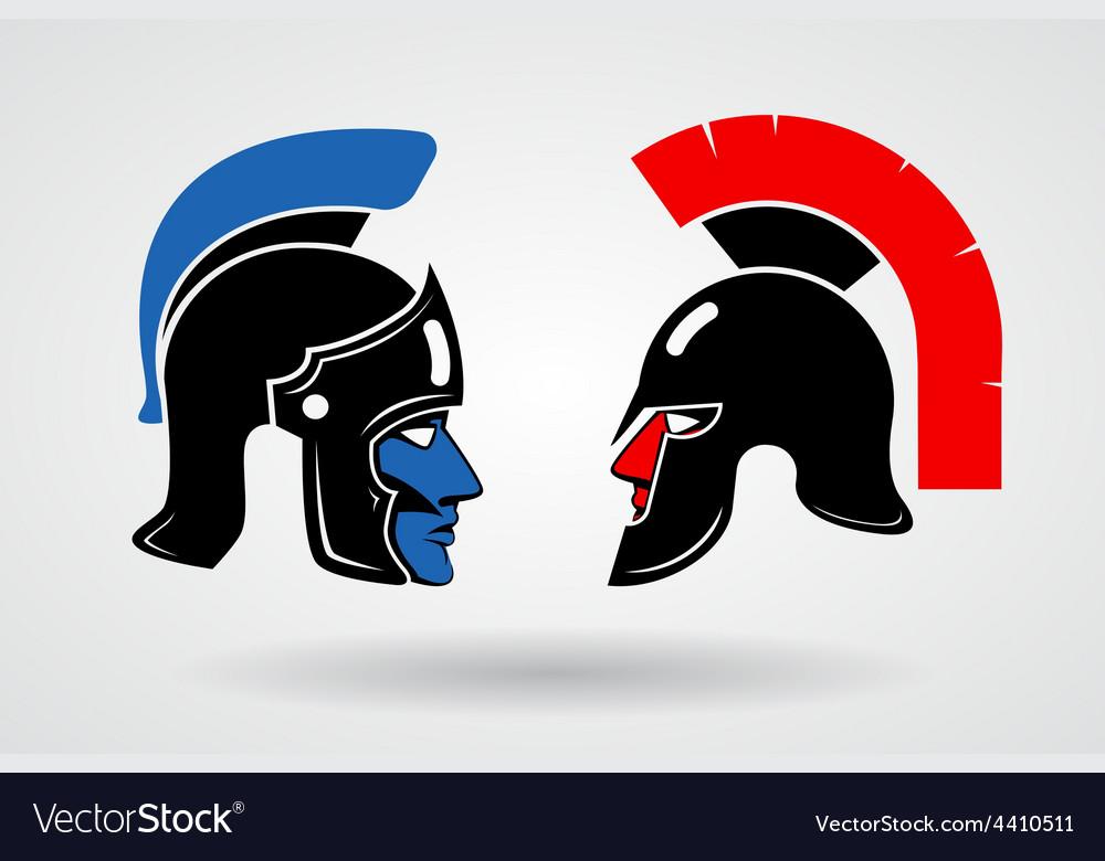 Gladiators heads in ancient helmets vector
