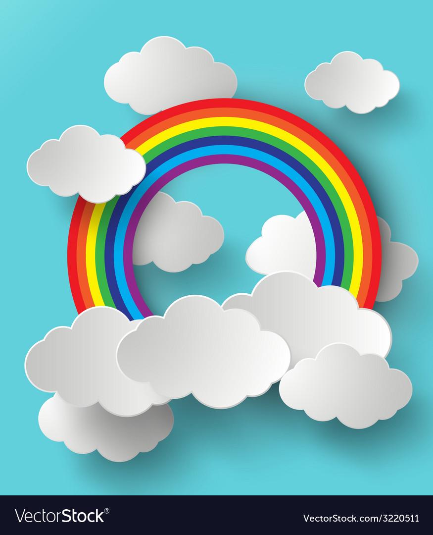 Rainbow and cloud vector