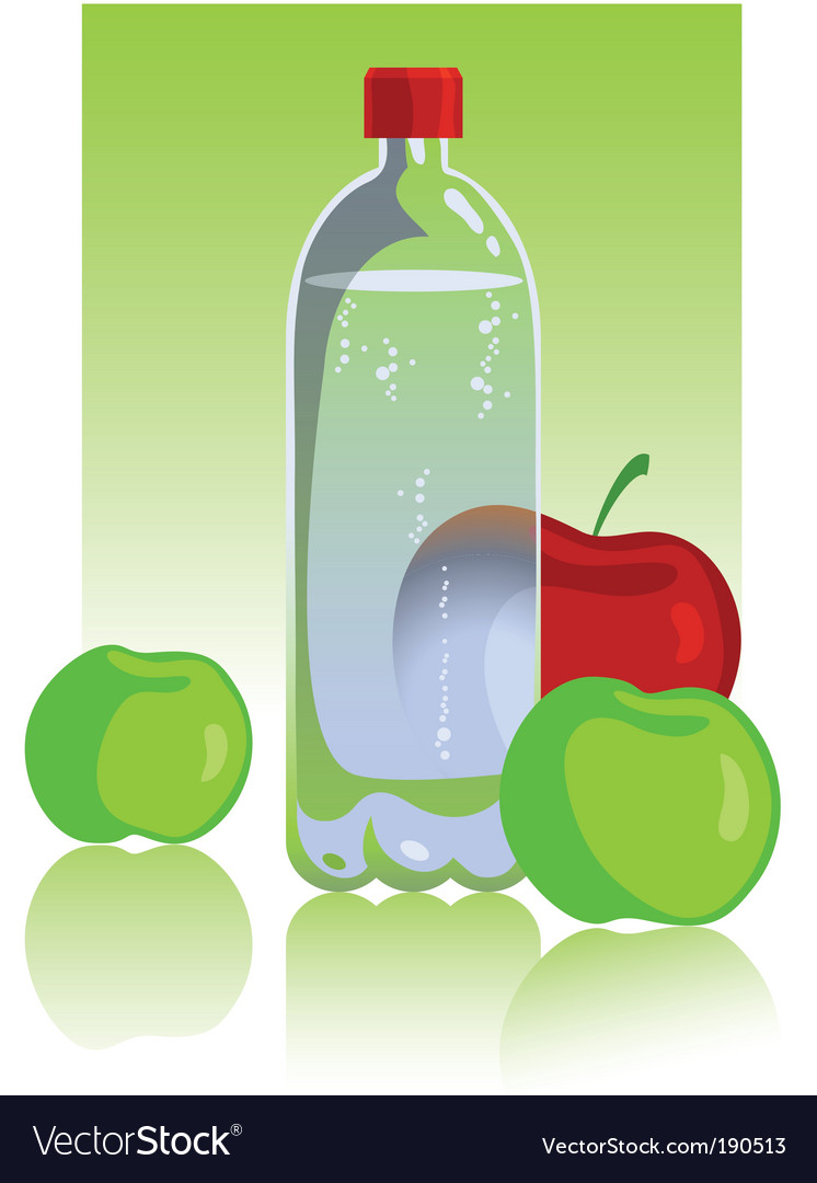 Apples and mineral water vector
