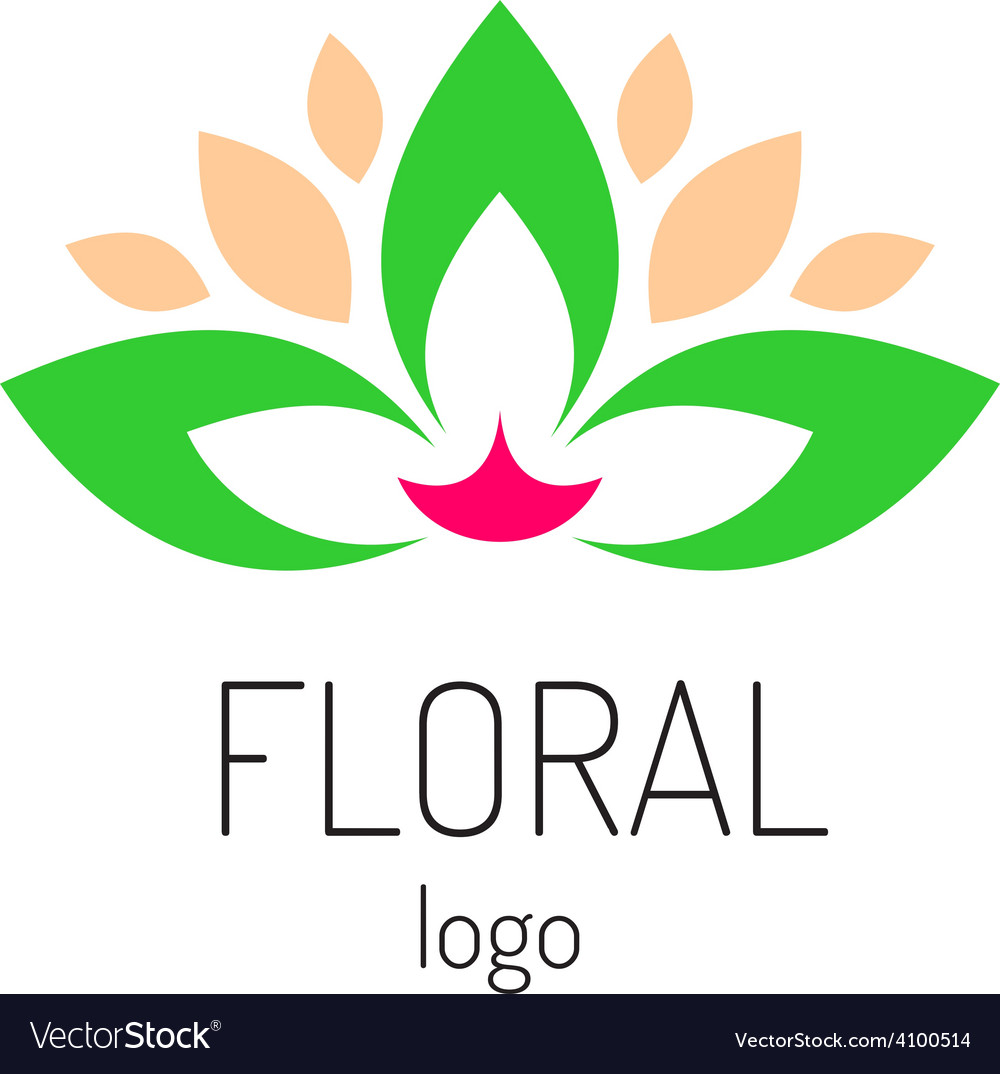 Floral logo template green leaves and cat face vector