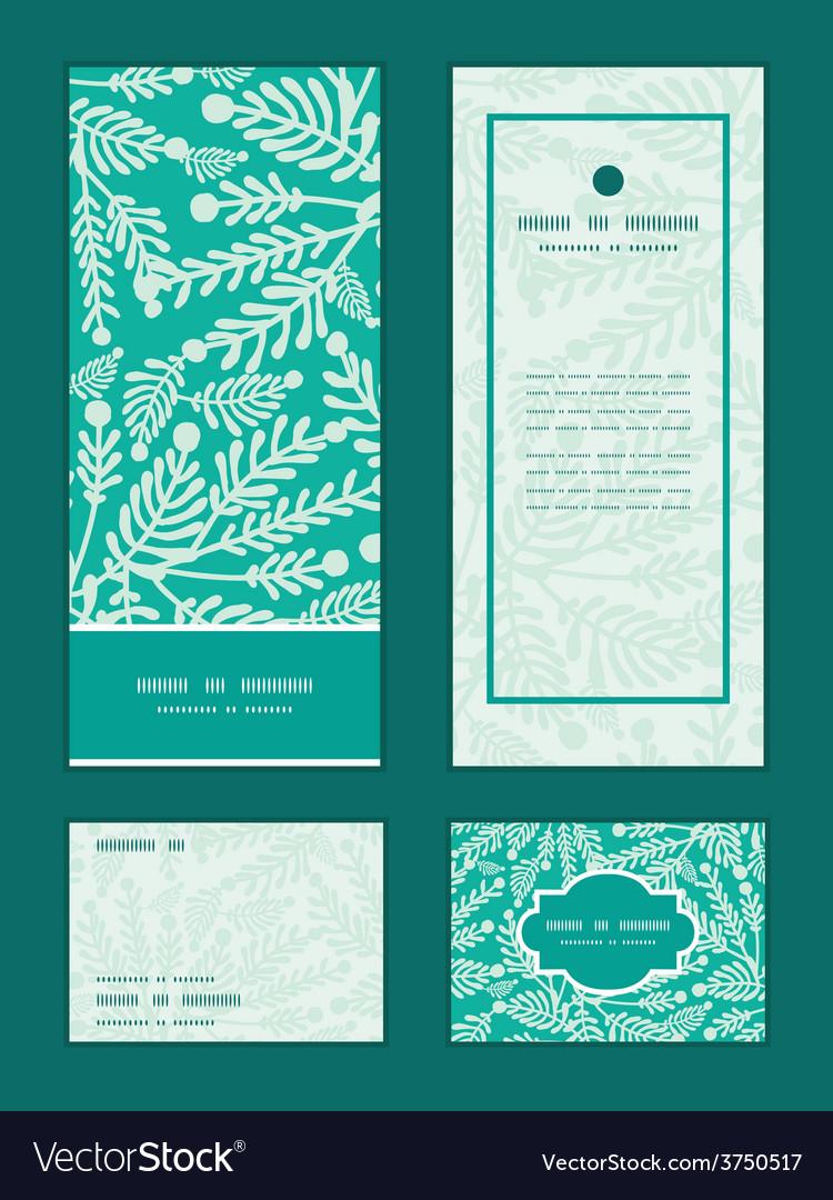 Emerald green plants vertical frame pattern vector