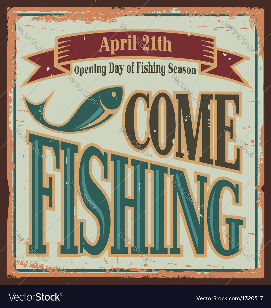 Vintage fishing metal sign vector