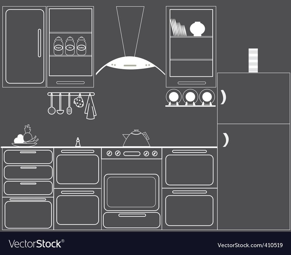 Gas hob kitchen vector