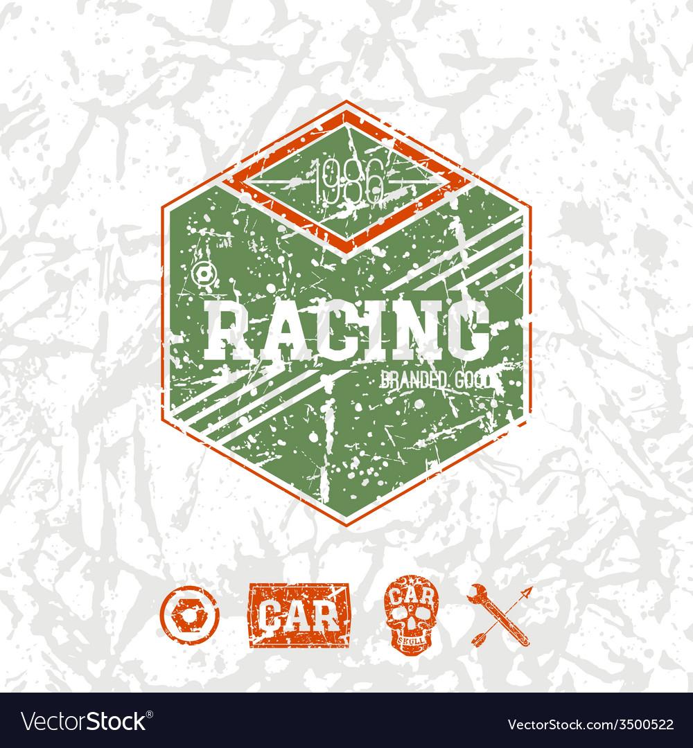 Car racing hexagonal emblem vector