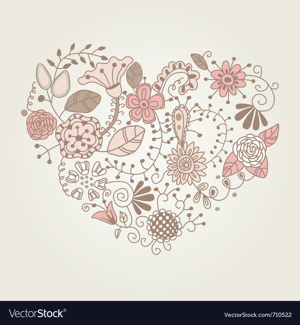 Floral vintage heart shape vector