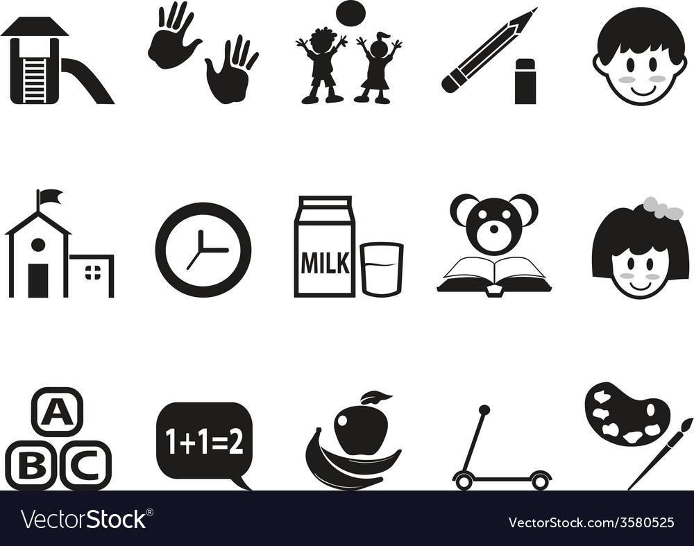 Preschool icons set vector