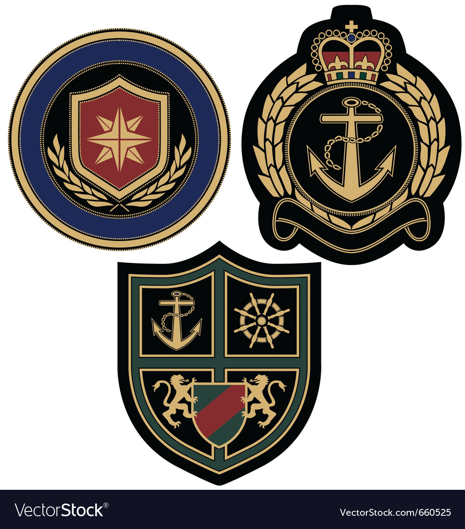 Sail anchor emblem badge vector