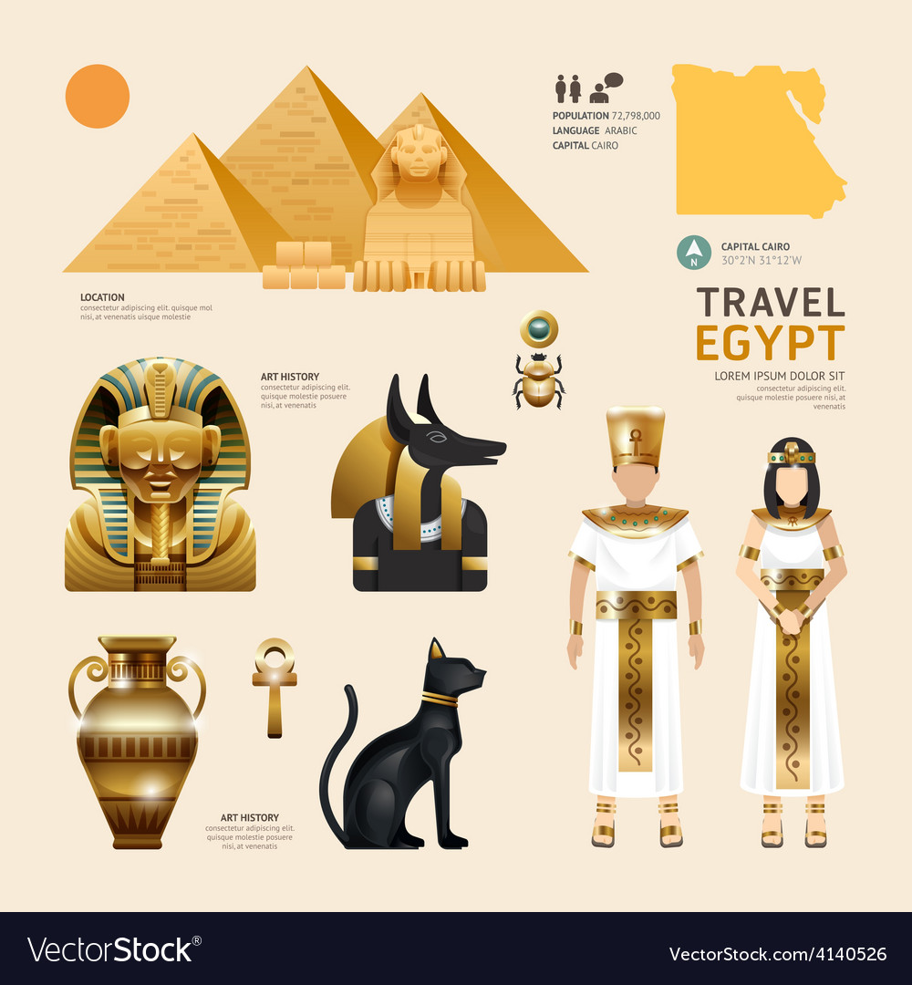 Egypt flat icons design travel concept vector