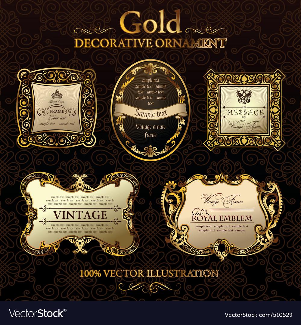Vintage decor frames gold ornament label vector