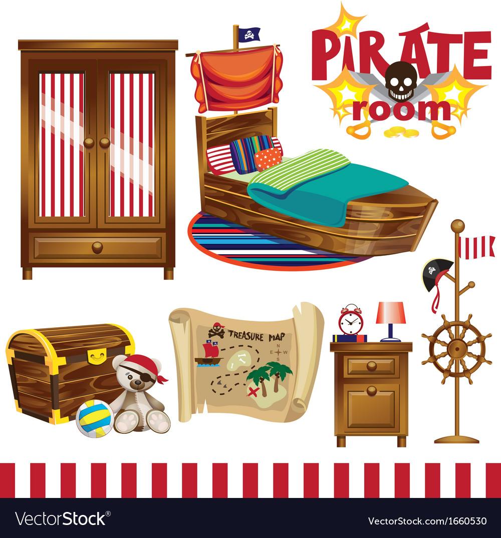 Pirate room set vector